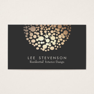 Elegant Circle Gold  Sphere Black Modern Business Card