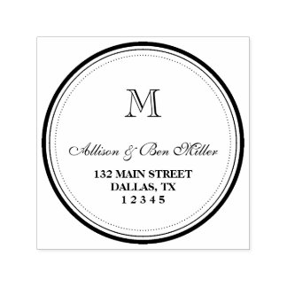 Elegant Circle Monogram Name & Address Self-inking Stamp