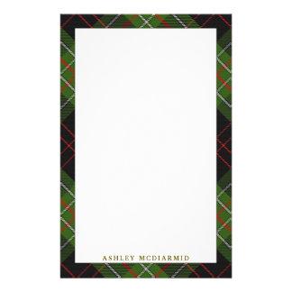 Elegant Clan MacDiarmid Tartan Plaid Stationery