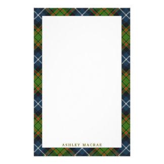 Elegant Clan MacRae Tartan Plaid Stationery