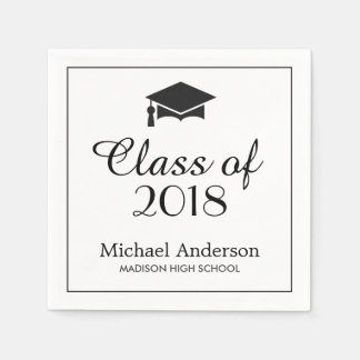 Elegant Class of 2017 Grad Cap Graduation Party Paper Napkin