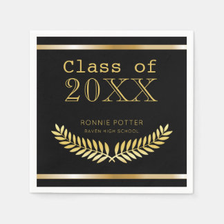 Elegant Class of | Black and Gold Graduation Party Paper Napkins