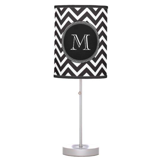 Elegant Classic Black and White Monogram Chevron Table Lamp