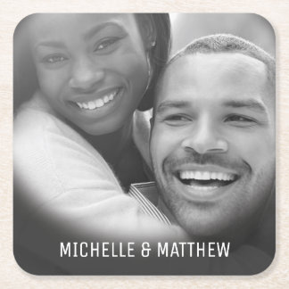 Elegant Classic Family Photo Square Paper Coaster