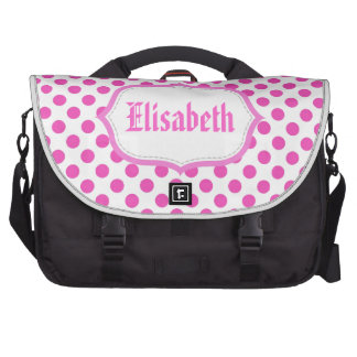 Elegant, classic, girly pink polka dots name laptop shoulder bag
