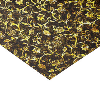 Elegant Classic Gold Floral & Vine Pattern Tissue Paper