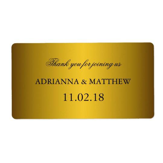 Elegant Classic Gold Wedding Wine Labels2 Shipping Label