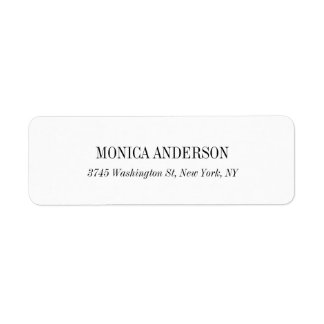 Elegant Classic Simple White Return Address Label