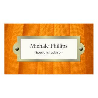 Elegant classic Vintage kitsch fabric orange Business Card
