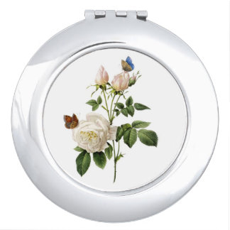 Elegant, classic vintage white rose &  butterflies travel mirrors