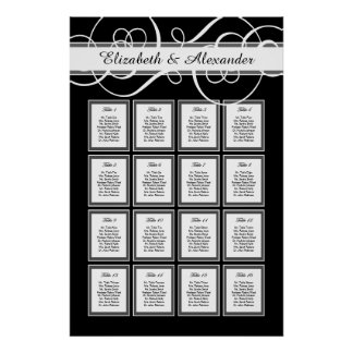 Elegant Classic Wedding 16 Table Seating Chart Poster