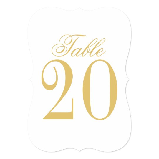 Elegant Classic Wedding Table Number Card