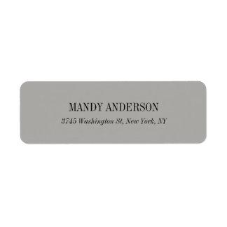 Elegant Classical Simple Grey Minimalist Design Return Address Label