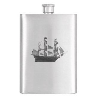 Elegant classy ancient ship hip flask