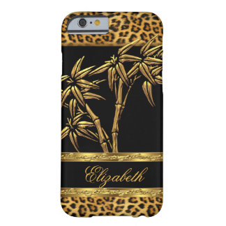 Elegant Classy Asian Bamboo Leopard Gold Black Barely There iPhone 6 Case