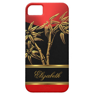 Elegant Classy Asian Bamboo Red Gold Black Case For The iPhone 5