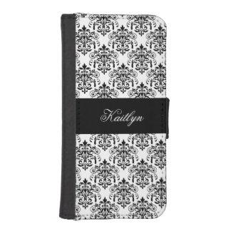 Elegant Classy Black White Damask Floral Prints iPhone SE/5/5s Wallet Case