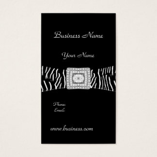 Elegant Classy Black Zebra animal Diamond Business Card
