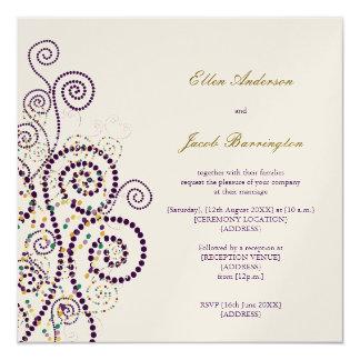 """Elegant Classy Boho Purple Spirals Wedding Invite 5.25"""" Square Invitation Card"""