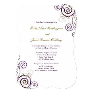 "Elegant Classy Boho Purple Spirals Wedding Invite 5"" X 7"" Invitation Card"