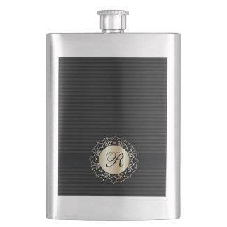 Elegant classy dark stripes monogram hip flask
