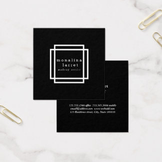 Elegant Classy Design Minimalist Black Square Business Card