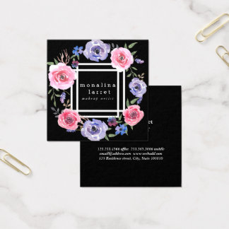 Elegant Classy Design Watercolor Flowers Black Square Business Card