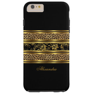 Elegant Classy Gold Black Leopard Floral Tough iPhone 6 Plus Case