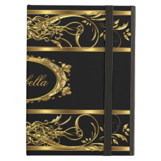 Elegant Classy Gold Black Name diamond jewel iPad Air Cover