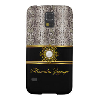 Elegant Classy Gold Black Snake Skin With Jewel Galaxy S5 Cover