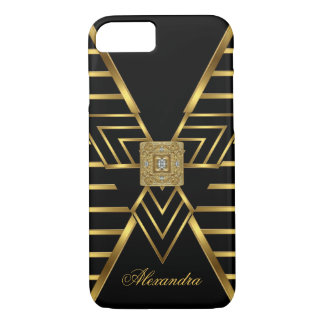 Elegant Classy Gold Black Stripe Art Deco iPhone 8/7 Case
