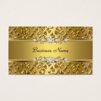 Elegant Classy Gold Damask Embossed Image Business Card