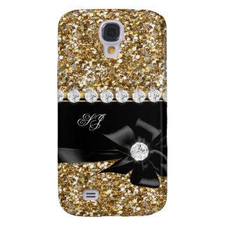 Elegant Classy Gold Glitter Look Monogram Bow
