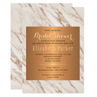 Elegant classy marble copper bridal shower card