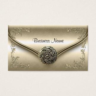 Elegant Classy Profile Business Sepia Cream Floral Business Card