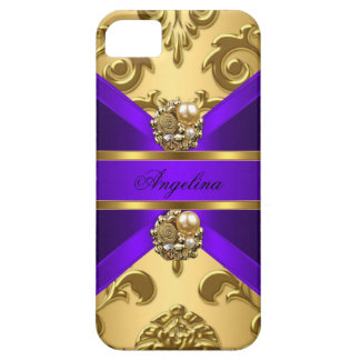 Elegant Classy Purple Gold Damask Jewel iPhone 5 Cover