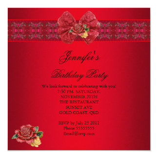 Elegant Classy Red Birthday Party Gold Black Card