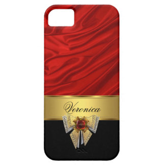 Elegant Classy Red Gold Black Silk Look Case For The iPhone 5