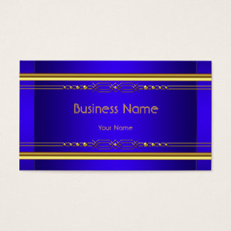 Elegant Classy Royal Blue Yellow Gold Company Business Card