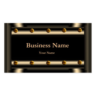 Elegant Classy Sepia Gold Metal Chrome look Business Card Template