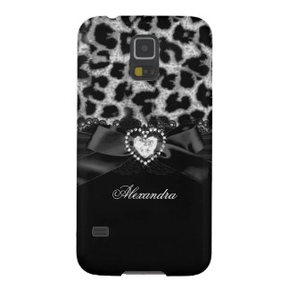 Elegant Classy Silver Black Leopard Heart Jewel Cases For Galaxy S5