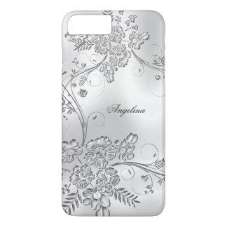 Elegant Classy Silver Metal Floral Look iPhone 8 Plus/7 Plus Case