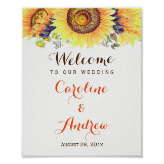 Elegant Classy Sunflowers Welcome Wedding Sign
