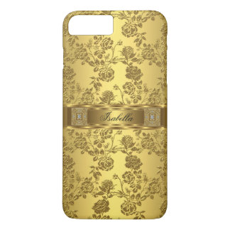 Elegant Classy Yellow Gold Rose Damask Floral iPhone 7 Plus Case