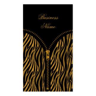 Elegant Classy Zebra Sepia Gold Zipper Business Card