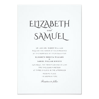 Elegant Clean Simple Stylish White Wedding Invite