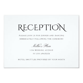 Elegant Clean Simple White Wedding Reception Card