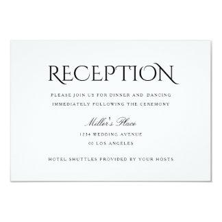 "Elegant Clean Simple White Wedding Reception Card 3.5"" X 5"" Invitation Card"