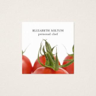 Elegant Clean Tomato Photo Personal Chef Square Business Card