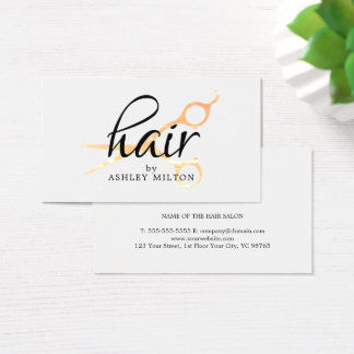 Elegant Clean White Faux Gold Scissors Hairstylist Business Card